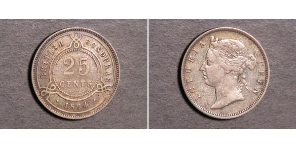 25 Цент Британский Гондурас (1862-1981) Срібло Вікторія (1819 - 1901)