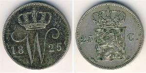 25 Цент Королівство Нідерланди (1815 - ) Срібло William I of the Netherlands (1772 - 1843)