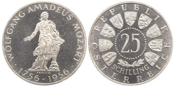 25 Шиллинг Австрийская Республика(1955 - ) Серебро Моцарт, Вольфганг Амадей