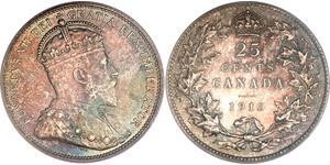 25 Cent 加拿大 銀 爱德华七世 (1841-1910)