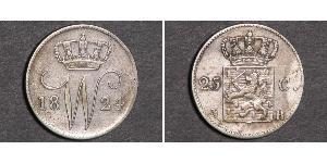 25 Cent 荷兰王国 銀 William I of the Netherlands (1772 - 1843)