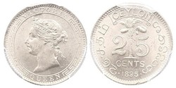 25 Cent Sri Lanka/Ceylon 銀