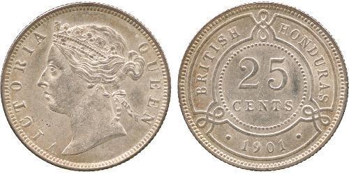 25 Cent British Honduras (1862-1981) Argent Victoria (1819 - 1901)