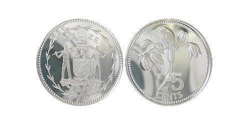 25 Cent Belize (1981 - ) Argento