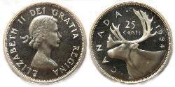 25 Cent Canada Argento Elisabetta II (1926-)