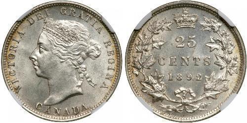 25 Cent Canada Argento Vittoria (1819 - 1901)