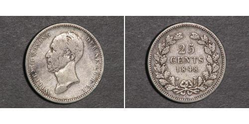 25 Cent Regno dei Paesi Bassi (1815 - ) Argento Guglielmo II dei Paesi Bassi (1792 - 1849)
