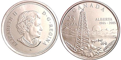 25 Cent Canada Copper Elizabeth II (1926-)