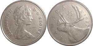 25 Cent Canada Copper/Nickel Elizabeth II (1926-)