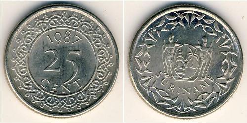 25 Cent Surinam Níquel/Acero