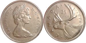 25 Cent Canadá Níquel/Cobre Isabel II (1926-)