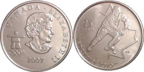 25 Cent Canada Nichel Elisabetta II (1926-)