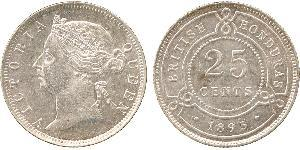 25 Cent British Honduras (1862-1981) Plata Victoria (1819 - 1901)
