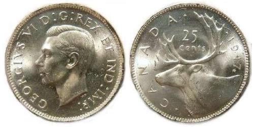 25 Cent Canadá Plata Jorge V (1865-1936)