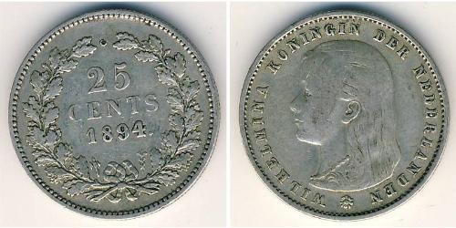 25 Cent Reino de los Países Bajos (1815 - ) Plata Guillermina de los Países Bajos(1880 - 1962)