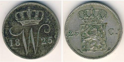 25 Cent Reino de los Países Bajos (1815 - ) Plata William I of the Netherlands (1772 - 1843)