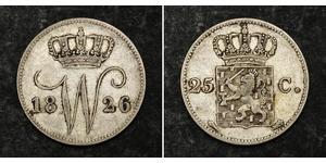 25 Cent Königreich der Niederlande (1815 - ) Silber William I of the Netherlands (1772 - 1843)