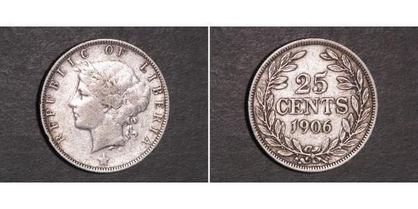 25 Cent Liberia Silber
