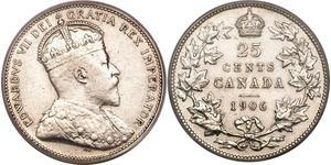 25 Cent Canada Silver Edward VII (1841-1910)
