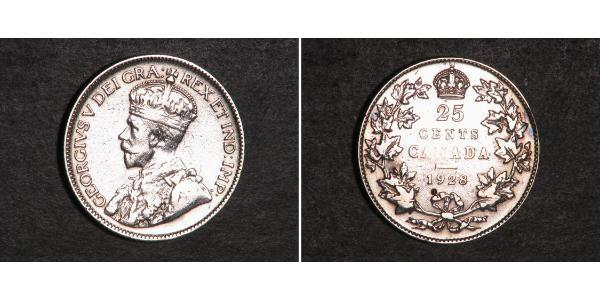 25 Cent Canada Silver George V of the United Kingdom (1865-1936)