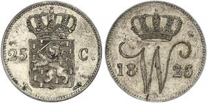 25 Cent Kingdom of the Netherlands (1815 - ) Silver William I of the Netherlands (1772 - 1843)