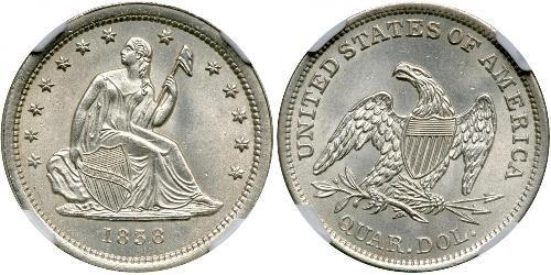 25 Cent / 1/4 Dólar Estados Unidos de América (1776 - ) Cobre/Plata