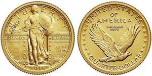 25 Cent / 1/4 Dólar Estados Unidos de América (1776 - ) Oro