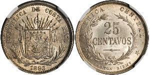 25 Centavo Costa Rica Argento