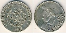25 Centavo Republic of Guatemala (1838 - ) Copper/Nickel