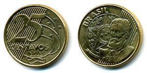 25 Centavo Brasile Ottone/Acciaio