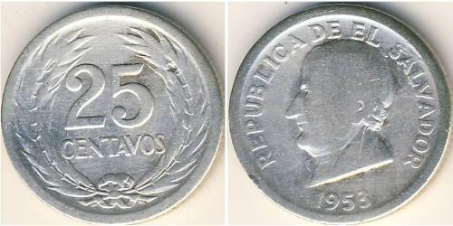 25 Centavo El Salvador Plata