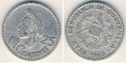 25 Centavo Republic of Guatemala (1838 - ) Silver