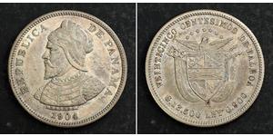 25 Centesimo Panamá Plata