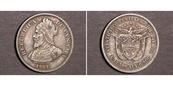 25 Centesimo Republic of Panama Silver