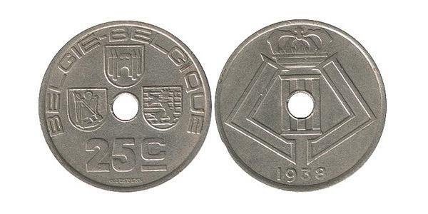 25 Centime Belgique Nickel/Laiton