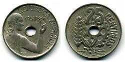 25 Centimo Second Spanish Republic (1931 - 1939) Copper/Nickel