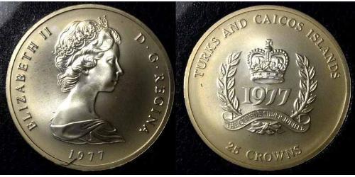 25 Corona Turks e Caicos Rame/Nichel Elisabetta II (1926-)