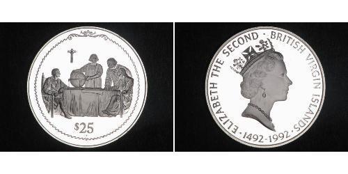 25 Dollar 维尔京群岛 銀 克里斯托弗·哥伦布 / 伊丽莎白二世 (1926-)