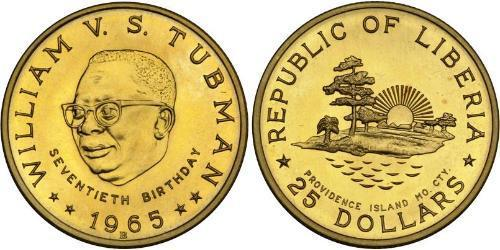 25 Dollar Liberia Gold William Tubman