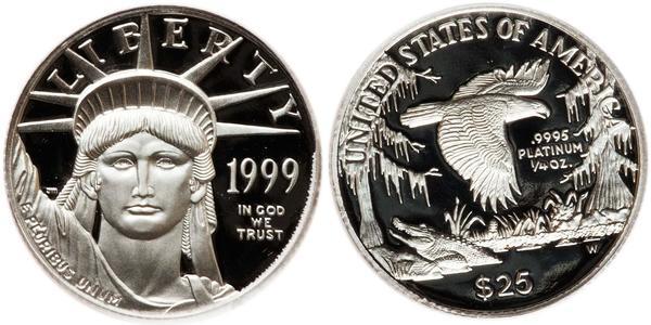 25 Dollar USA (1776 - ) Platinum