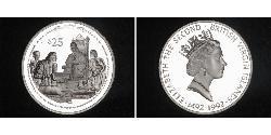 25 Dollar British Virgin Islands Silver Christopher Columbus (1451 - 1506) / Elizabeth II (1926-)