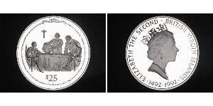 25 Dollar Virgin Islands Silver Christopher Columbus (1451 - 1506) / Elizabeth II (1926-)
