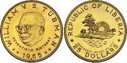 25 Dollaro Liberia Oro William Tubman
