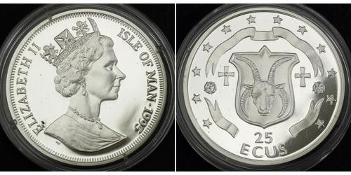 25 Ecu Isola di Man Argento Elisabetta II (1926-)