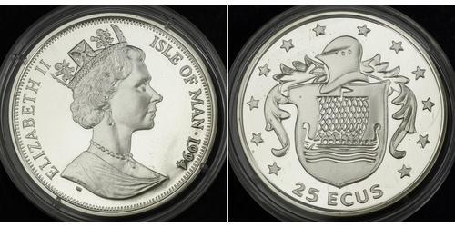 25 Ecu Isola di Man  Elisabetta II (1926-)