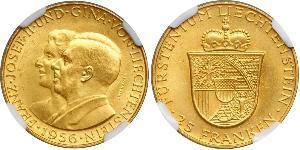 25 Franc Liechtenstein 金 Franz Joseph II, Prince of Liechtenstein (1938 - 1989)
