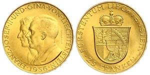 25 Franc Liechtenstein Or Franz Joseph II, Prince of Liechtenstein (1938 - 1989)