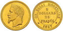25 Franc / 100 Dólar Francia Oro Napoleon III (1808-1873)