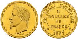 25 Franc / 100 Dollar Frankreich Gold Napoleon III (1808-1873)