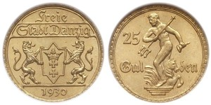 25 Gulden Gdansk (1920-1939) Gold